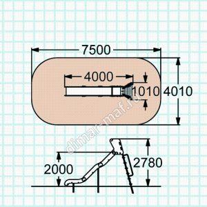Горка с металлическими перилами H=2780