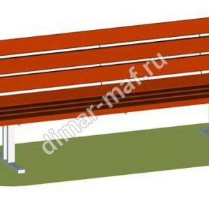 Скамья со спинкой на металлических ножках из категории Садово-парковое оборудование