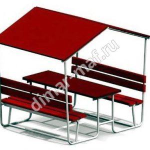 Стол со скамьями и навесом из категории Садово-парковое оборудование